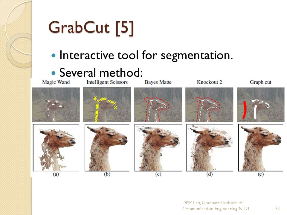 GrabCut [5] Interactive tool for segmentation. Several method: